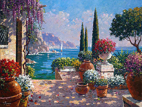 Garden terrace in amalfi oil on canvas art of bob for Terrace images